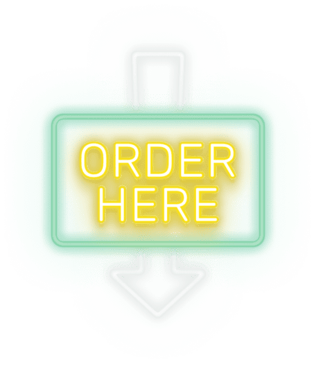 neon sign with arrow pointing down saying order here